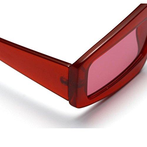 Lunettes de Soleil Ansenesna Unisexe Translucide Simple Design No Logo Lunettes de vue claires Carré Cadres de mode Rouge