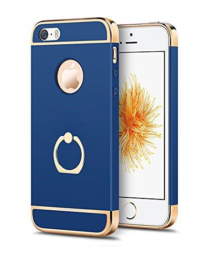 OURJOY iPhone SE ケース iPhone5s ケース リング付き 衝撃防止 スタンド機能 3パーツ式 スリム薄型 アイフォンseケース アイフォン 5s 携帯カバー (iPhone SE 5 5s, ブルー)