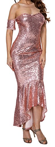 YeeATZ Women Champagne Off Shoulder Sequins Hi-lo Mermaid Party Dress - Cheapest Mermaid Tails