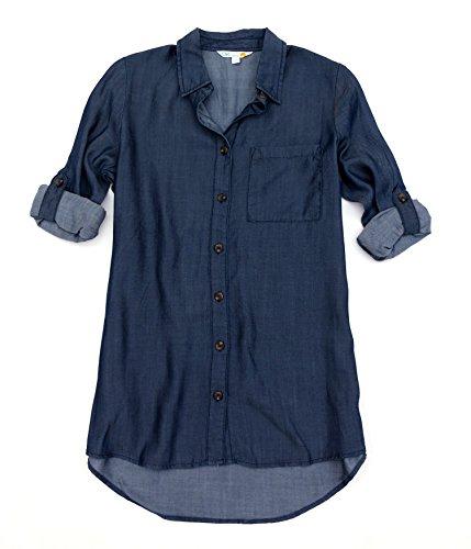 California Pocket C&c (C&C California Women's Single Pocket Button Up, Dark Indigo Wash, S)