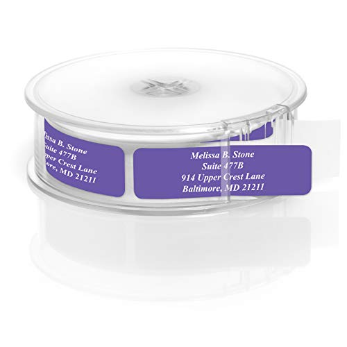 Purple Colored Personalized Address Labels with White Print and Elegant Plastic Dispenser - Roll of 250 ()