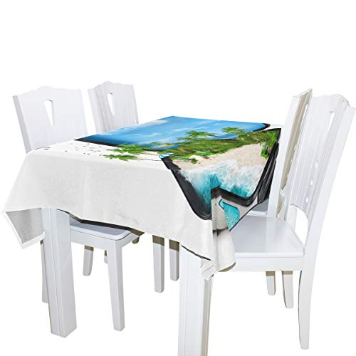 WIHVE Tablecloth Traveling Open Suitcase Tropical Island Palm Tree 100% Polyester Indoor/Outdoor Soil Resistant Tablecloths, Kitchen Dining Room Table Linens (Rectangular/Square, 60x120 Inch) ()