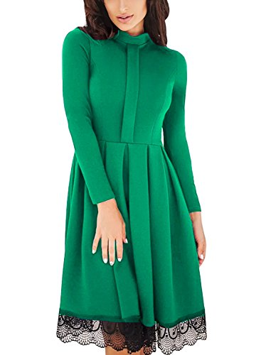 Dokotoo Womens Ladies Elegant Amazon Lace Hemline Long Sleeve High Neck A Line Homecoming Pleated Skater Party Midi Dress Under 20 Green Small