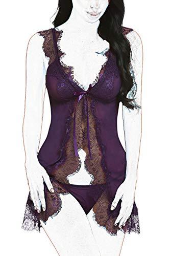 (ADOME Women Sexy Lingerie Open Front Eyelash Lace Sleepwear Sheer Nightgown Maternity Langire Purple M)