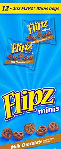 (Flipz, Milk Chocolate Covered Pretzels Minis –Kids Favorite Snack -2 Oz. (12)