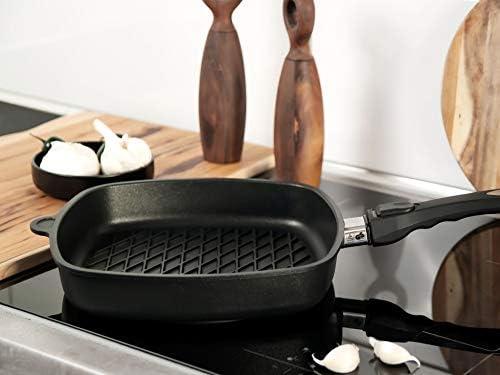 AMT Gastroguss AMZN-E285BBQ-Z20B Poêle carrée en fonte d'aluminium avec revêtement anti-adhésif pour cuisson sans graisse Motif BBQ 28 x 28 cm Hauteur 5 cm