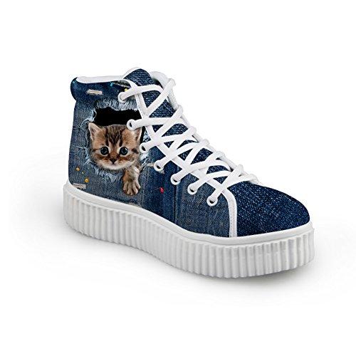 HUGS IDEA Cute Jeans Women Sneakers High Top Shoes Shoes8 8iccV3a79A