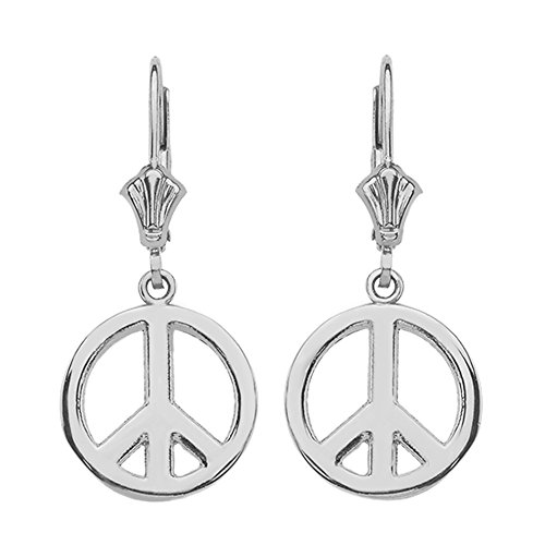 (Leverback Peace Symbol Dangle Earrings in Polished Sterling Silver)