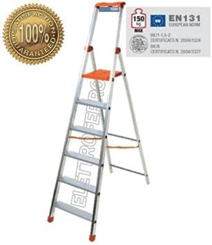 Escalera Aluminio 6 Peldaños Super Ligera y robusta de altura domestica Casa Hercules: Amazon.es: Bricolaje y herramientas