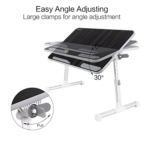 Laptop Bed Tray Table, Nearpow ( Larger Size ) Adjustable Laptop Bed Stand, Portable Standing Table with Foldable Legs, Foldable Lap Tablet Table for Sofa Couch Floor - Large Size