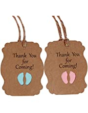 HEALLILY 100 piezas gracias por venir etiquetas papel kraft gracias etiquetas de regalo colección baby shower etiquetas baby shower azul y rosa