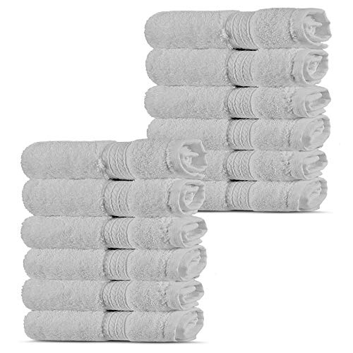 Premium Turkish Cotton 4-Striped Border Eco-Friendly and Long Stable Washcloth (White, Set of 12)