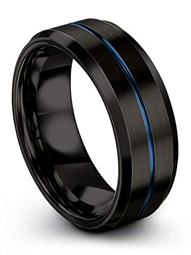 Chroma Color Collection Tungsten Carbide Wedding Band Ring 8mm for Men Women Black Interior with Blue Center Line Bevel Edge Brushed Polished Comfort Fit Anniversary Size 13