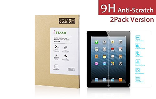 iFlash® 2 Pack of Premium Tempered Glass Screen Protector For Apple iPad 2nd Generation / iPad 3rd Generation / iPad 4th Generation with Retina Display (Apple iPad 2/3/4 Generation) - Protect Your Screen from Scratches and Bubble Free - Maximize Your Resale Value - 99.99% Clarity and Touchscreen Accuracy (2Pack, Retail Package) (2nd Screen Generation)