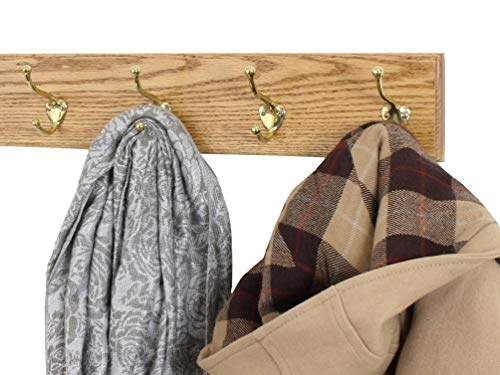 Solid Oak Wall Mounted Coat Rack with Solid Brass Wall Coat Hooks - Made In the - Oak Coat Rack Craftsman