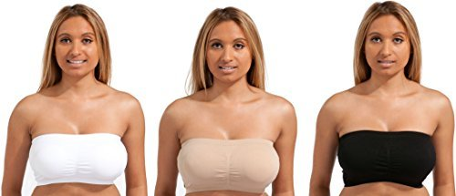 3 PACK - Marielle STRAPLESS Tube Top BANDEAU Padding/Unpadded Bra Seamless Sexy (XL US Size 10, Black/White/Nude PADDED)