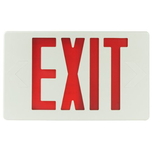 (LED Exit Sign - White Thermoplastic - Red Letters - 120/277 Volt and Battery Backup - Exitronix VEX-U-BP-WB-WH)