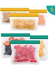 OrgaWise Sac Congelation Reutilisable, 6 Pcs Multifonction Sac Réutilisable Silicone pour Nourriture pour Légumes Fruits et Viande, Très Épais, Prévenir Les Fuites