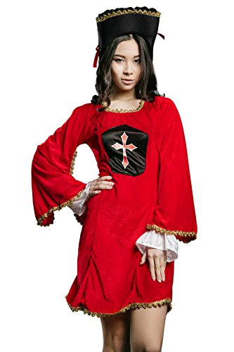 Adult Women Musketeer Lady Duelist Costume Halloween Cosplay Role Play Dress Up (Small/Medium, Red, Black, White, Gold)