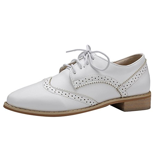 Low Oxford Lace White Up heel Pointed Foot Women's Charm Toe Western Shoes CXFzq