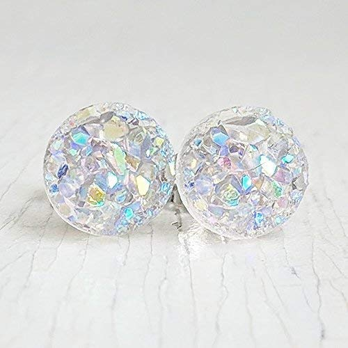 Mini Opal Druzy on Surgical Steel - Stud Earrings - Hypoallergenic by Jenna Scifres Handmade Jewelry