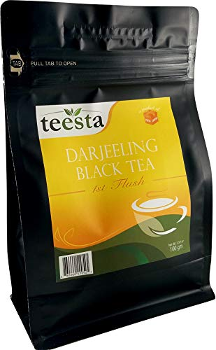 (TEESTA - Darjeeling FIRST Flush Black Tea Leaves | 3.53oz / 100gm / 50cups | Light color, Flowery, Aromatic & Mild Astringency | Single Estate Darjeeling Loose Leaf Tea)