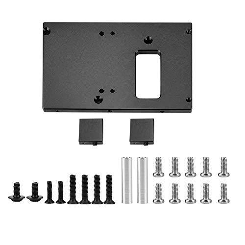 (Dilwe RC Servo Mount Plate, Aluminium Alloy 17g Servo Mount Plate for WPL1622 Truck RC Crawler Car Part (Black))