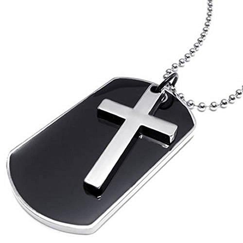 KONOV Schmuck Herren Damen Halskette, Militärischen Kreuz Erkennungsmarken Armee Stil Dog Tag Anhänger mit 68cm Kette, Schwarz Silber