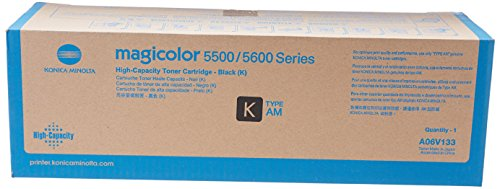 Black Magicolor Printer Toner - Konica Minolta High Capacity Black Toner Cartridge, 12000 Yield (A06V133)