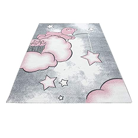 Carpet 1001 Kinderzimmer Teppich mit Motiven Elefant Rosa 80x150 cm