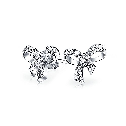Pave CZ Ribbon Bow Stud earrings 925 Sterling Silver 11mm