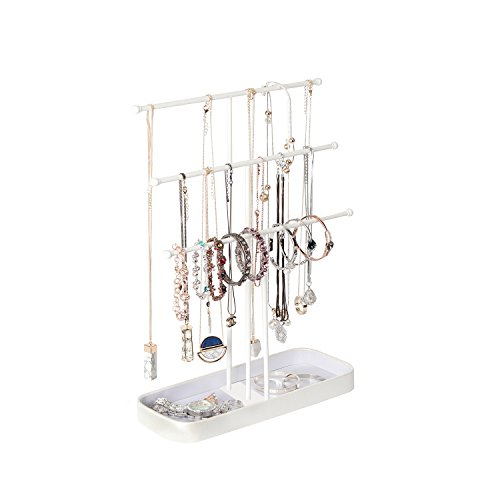 JackCubeDesign Metal 3 Tier Jewelry Display Stand Tree Organizer Bracelet Necklace Holder Rack Hanger Tower with Earring Ring Tray Storage Tabletop(White, 12.1 x 4.1 x 16.1 inches) – :MK320F by JackCubeDesign (Image #2)