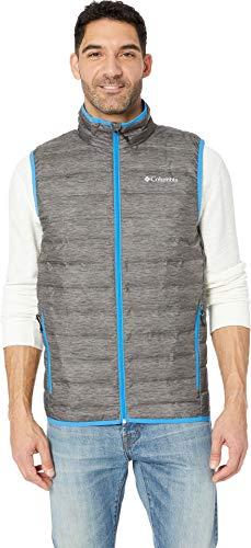 Columbia Men's Lake 22 Down Vest Charcoal Heather Print/Azure Blue Small (Aria Down Vest)