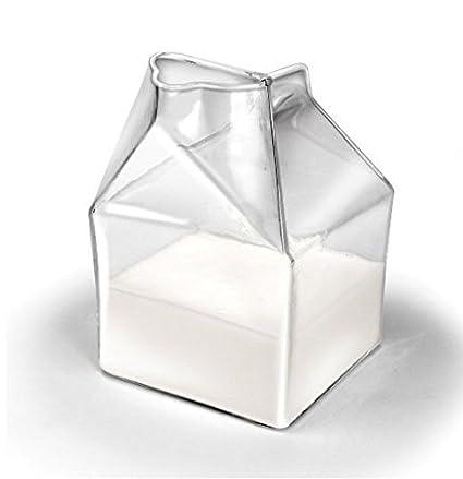 Amazon.com   Youbedo 1 Half Pint Blown Glass Mini Milk Creamer Carton  Container Glass Mini Milk Collect Bottle: Creamers