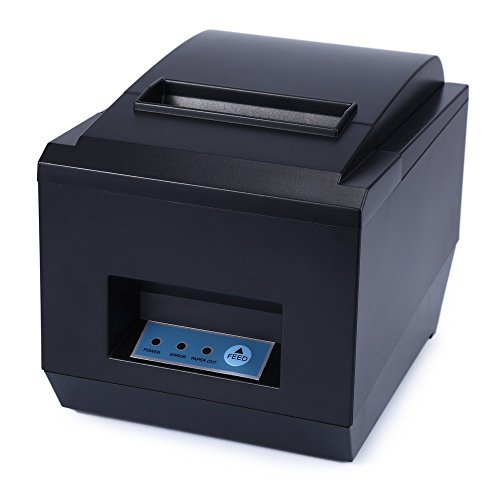 - POS Receipt Thermal Printer with 80mm Paper Rolls High-Speed Printing (Black)