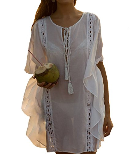 Bestyou Women's Embroideried Swimsuit Cover up Tunic Shirts Beachwear US XS-M (White H)