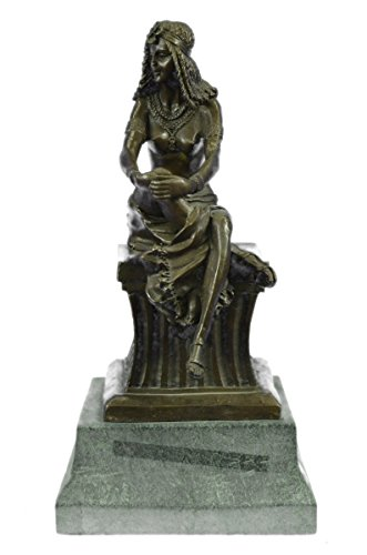 …Handmade…European Bronze Sculpture Large Signed~Chiparus~ Sitting Egyptian Nude Princess Marble (XN-2155) Bronze Sculpture Statues Figurine Nude …