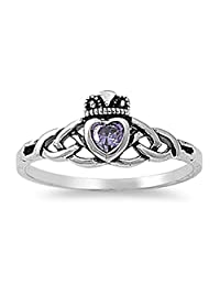 CHOOSE YOUR COLOR Sterling Silver Claddagh Celtic Knot Ring