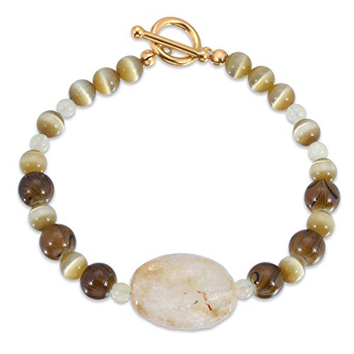 Art Jewelry Bracelet. Handmade One of a Kind Citrine, Cat's Eye and Mixed Gemstones.