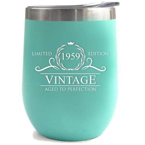 1959 60th Birthday Gifts for Women or Men - Vintage Aged to Perfection Stainless Steel Tumbler -12 oz Mint Tumblers w/Lid - Funny Anniversary Gift Ideas for Him, Her, Husband or Wife. Insulated Cups