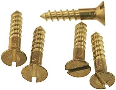 Slotted Flat Head Wood Screw Solid Commercial Brass #0X1//4 Qty 25