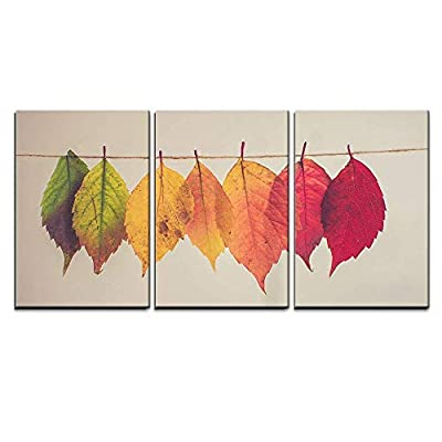Colorful Leaves Hang on String x3 Panels, Made With Love, Elegant Object of Art