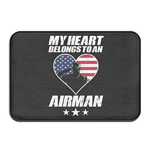 JJLin24 My Heart Belongs to an Airman Essentials Indoor/Outdoor Weather Resistant Floor Mat/Rug Doormat Carpet (Size:15.75x23.62 Inch)