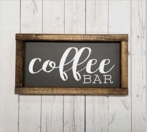 Coffee Kitchen Curtains Amazon Com: Amazon.com: Coffee Bar Sign For Coffee Bar Decor, Farmhouse Sign, Fixer Upper Style, Kitchen