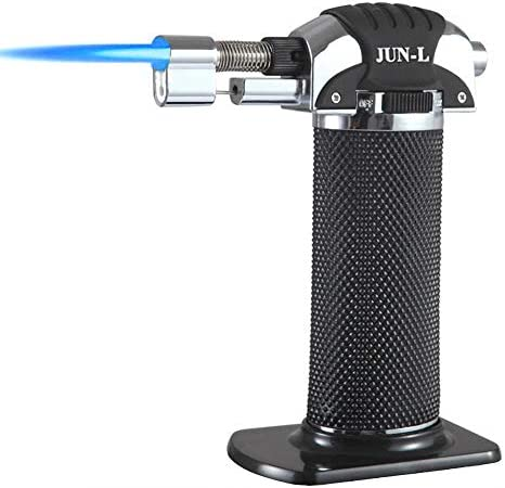 JUN-L Pistola de llama de metal para soldadura de gas de la antorcha de calentamiento Lgnition Butano portátil Camping Soldadura Antorcha de gas para ...