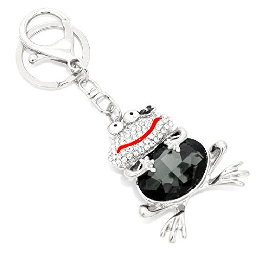 Frog Key Chain H7 Clear Pave Black Diamond Colored Crystal Enamel Silver ()