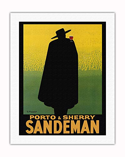 (Pacifica Island Art - Porto & Sherry Sandeman - French Port, Brandy, Madeira Wines - Vintage Advertising Poster by Georges Massiot c.1930 - Fine Art Rolled Canvas Print - 20in)