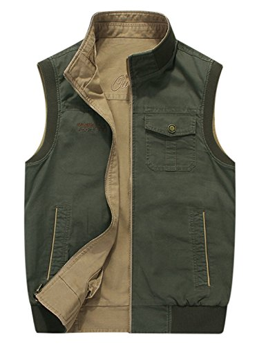 Gihuo Men's Reversible Cotton Leisure Outdoor Pockets Fish Photo Journalist Vest (L, Khaki) by Gihuo (Image #2)