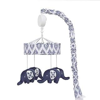 NoJo Indigo Hues Nursery Crib Musical Mobile with Plush Velboa Elephants, Blue/White