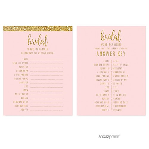 Andaz Press Blush Pink Gold Glitter Print Wedding Collection, Wedding Word Scramble Bridal Shower Game Cards, 20-Pack